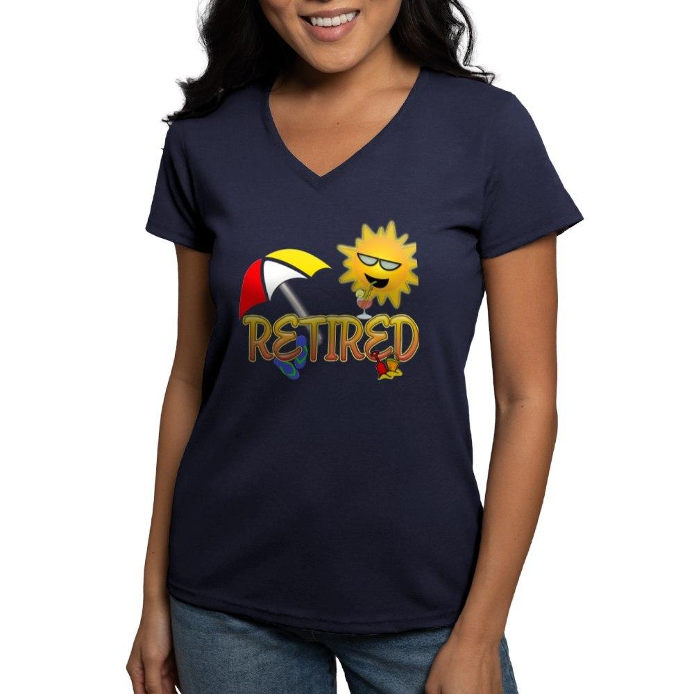 CafePress-Retired-Women-039-s-V-Neck-Dark-T-Shirt-V-Neck-T-Shirt-380506903 thumbnail 16