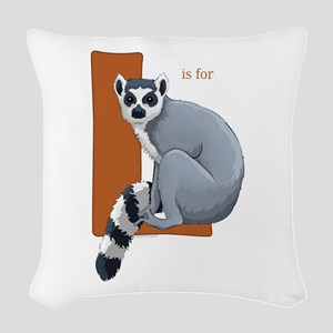 L is for Lemur Woven Throw Pillow