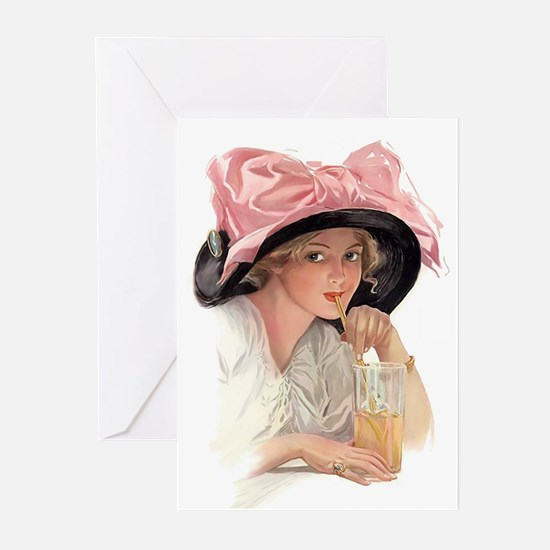 Pink Bow Hat Greeting Cards (Pk of 10)