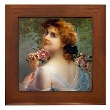 Rose Lady Framed Tile