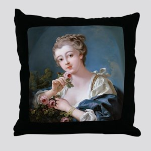 Young Woman Holding Rose Throw Pillow