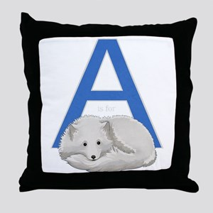 A is for Arctic Fox Throw Pillow
