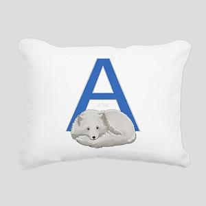 A is for Arctic Fox Rectangular Canvas Pillow