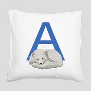 A is for Arctic Fox Square Canvas Pillow