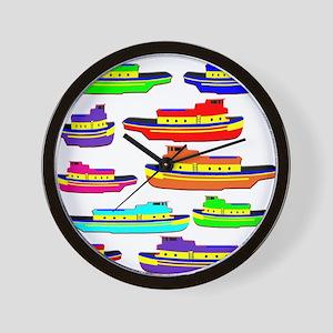 Rainbow Tugboats Wall Clock