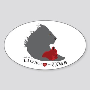 Twilight LION LAMB on White Oval Sticker