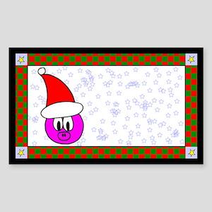Christmas Pig Label Rectangle Sticker