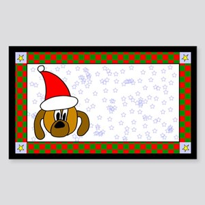 Christmas Dog Label Rectangle Sticker