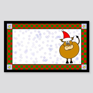 Christmas Cow Label Rectangle Sticker