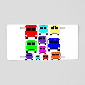 Rainbow School Bus Aluminum License Plate