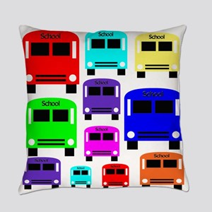Rainbow School Bus Everyday Pillow