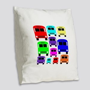 Rainbow School Bus Burlap Throw Pillow