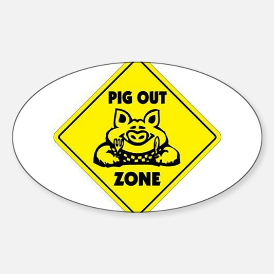Pig Out Zone Oval Decal