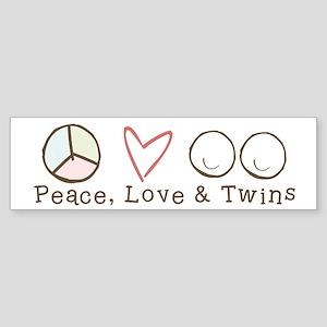 Peace Love & Twins - Bumper Sticker