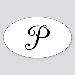 Initial P Oval Sticker