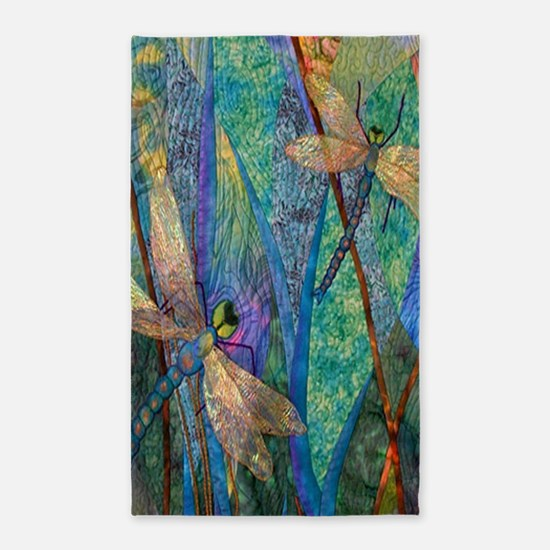 Colorful Dragonflies Area Rug