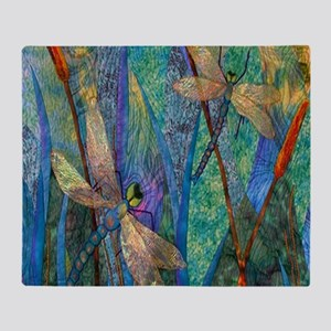 Colorful Dragonflies Throw Blanket