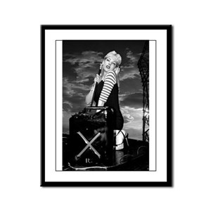 B & W Pinup on Truck Framed Panel Print
