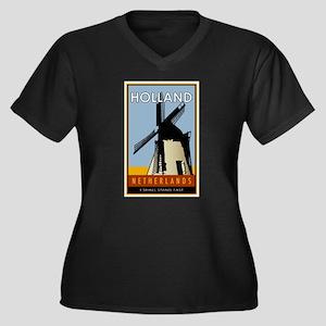 Netherlands Women's Plus Size V-Neck Dark T-Shirt