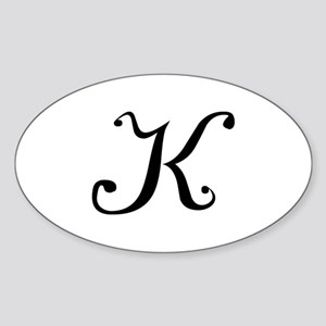Initial K Oval Sticker