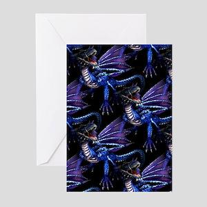 Blue Dragon At Night Greeting Cards (Pk of 10)