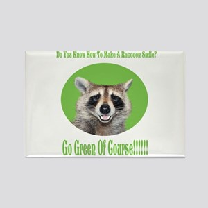 Raccoon Go Green Rectangle Magnet