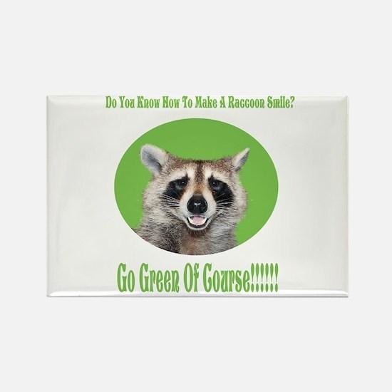 Raccoon Go Green Rectangle Magnet