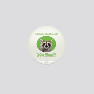 Raccoon Go Green Mini Button (10 pack)