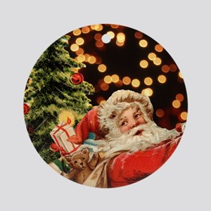 Santa with Presents Ornament (Round)