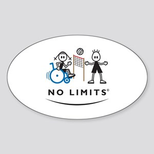 Disabled Volleyball Girl Oval Sticker (10 pk)
