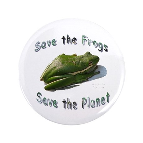 """Save Green Treefrog 3.5"""" Button"""