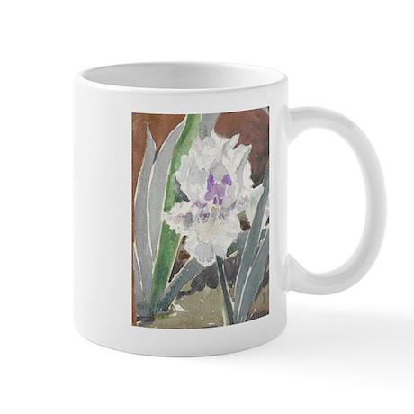 White Iris Floral Mug