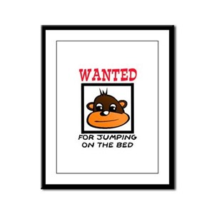 WANTED: JUMPING ON THE BED Framed Panel Print