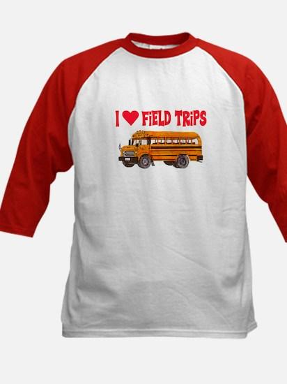 I LOVE FIELD TRIPS.. Kids Baseball Jersey