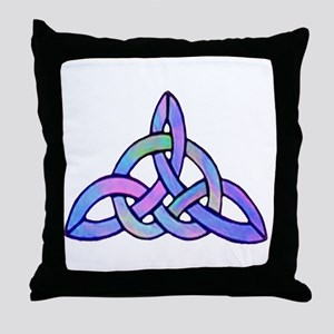 Triquetra Blue Throw Pillow