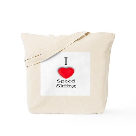 Speed Skiing Tote Bag