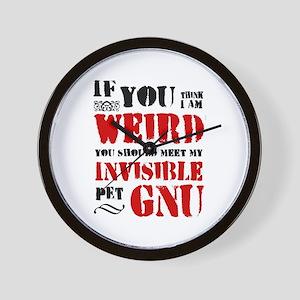 'Invisible Pet Gnu' Wall Clock