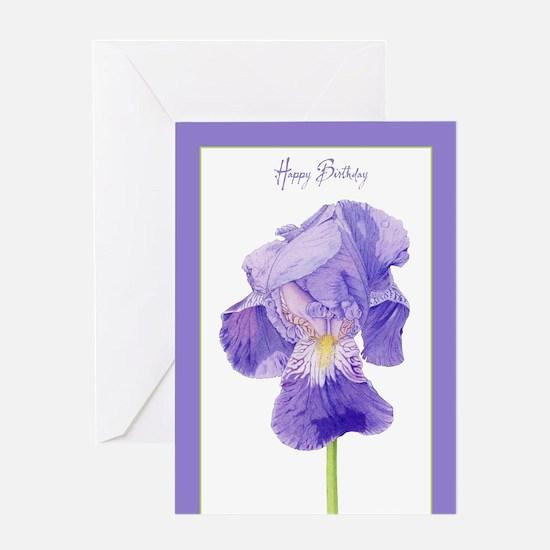 Purple Iris Birthday Greeting Card