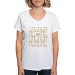 S&O Yellow Egg & Dart Logo Women's V-Neck T-Shirt