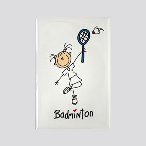 Girl's Badminton Rectangle Magnet