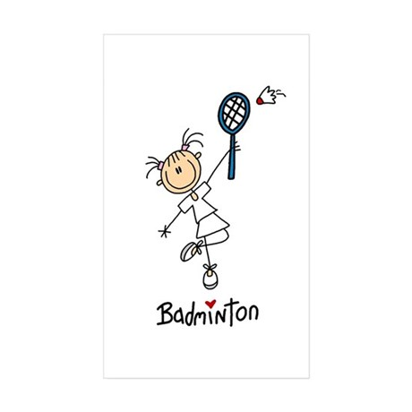 Girl's Badminton Rectangle Sticker 10 pk)