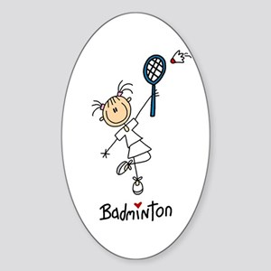 Girl's Badminton Oval Sticker