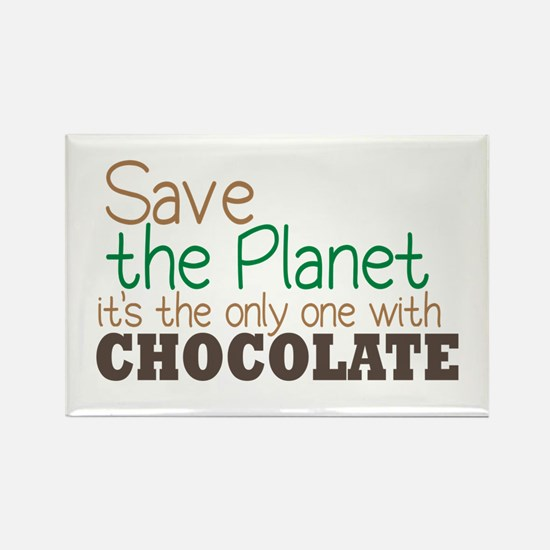Only Planet with Chocolate Rectangle Magnet