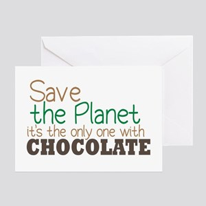 Only Planet with Chocolate Greeting Card