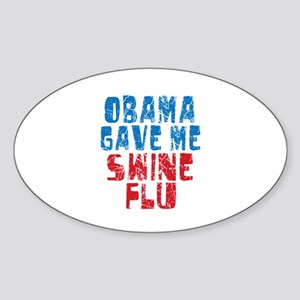 Obama Swine Flu Oval Sticker