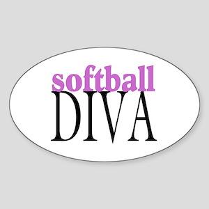 Softball Diva Oval Sticker