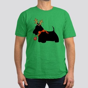 Scottie Dog Reindeer Men's Fitted T-Shirt (dark)