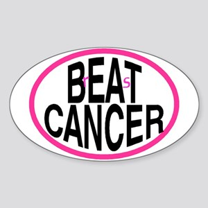 Beat Cancer + r&s - Oval Sticker