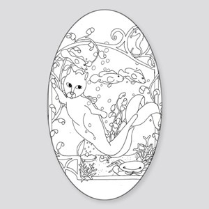 MerCat with Crab Oval Sticker