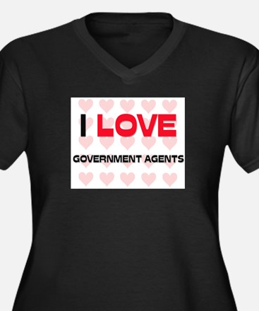 I LOVE GOVERNMENT AGENTS Women's Plus Size V-Neck